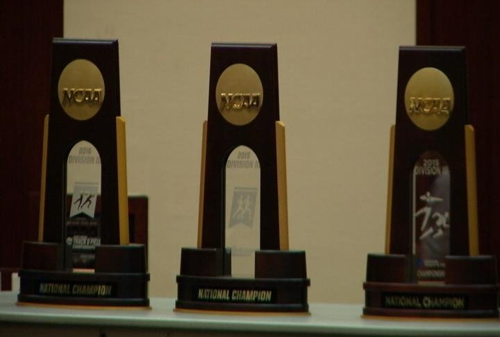 All 3 National Championships Trophies on display at the reception