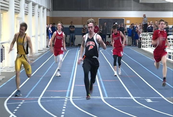 Elk Mound's Jonah Bauer wins the boys 55 meter dash