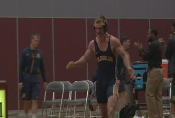 Zackary Sirny records a pin for UWEC