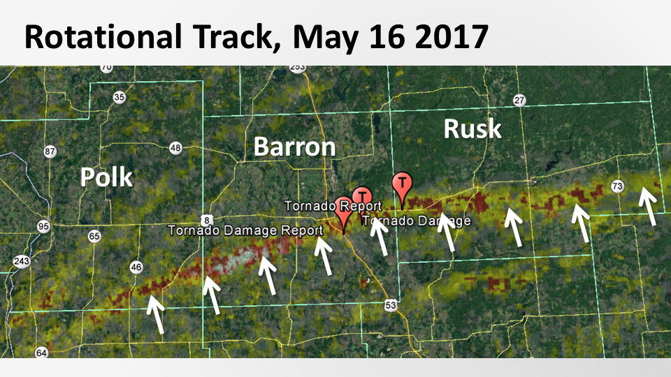 Tornado Track From May 16th, 2017