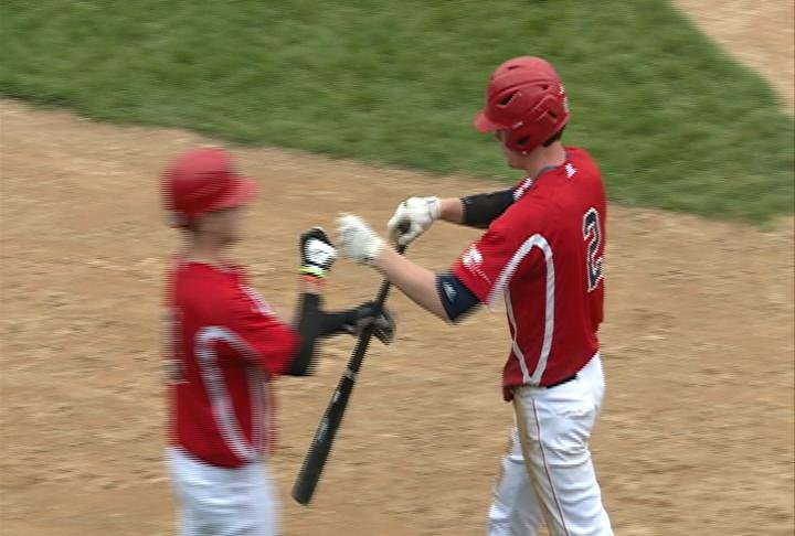 Jordan Wilson scores Eau Claire's only run of the game