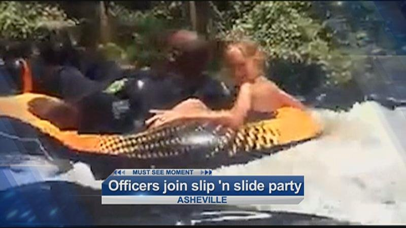 Officers join in slip 'n slide party
