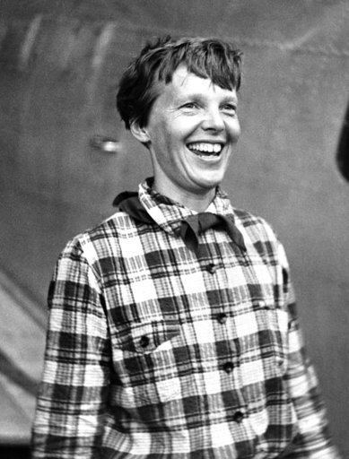 (AP Photo, File). FILE - In this June 6, 1937, file photo, Amelia Earhart, the American airwoman who is flying round the world for fun, arrived at Port Natal, Brazil, and took off on her 2,240-mile flight across the South Atlantic to Dakar, Africa.