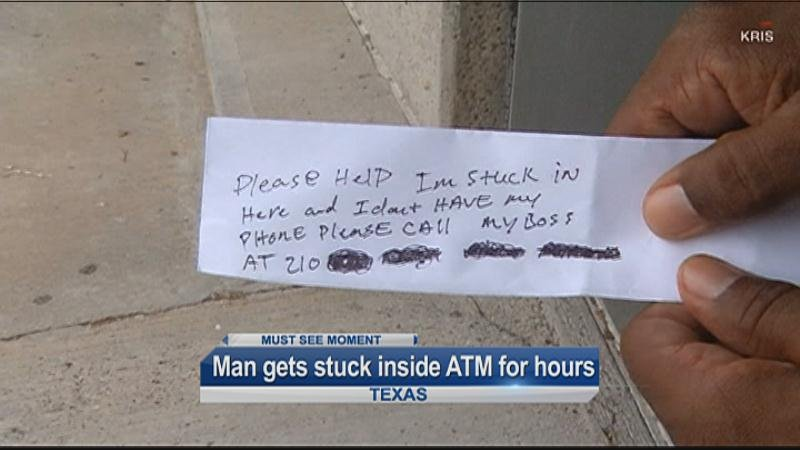 Man trapped in ATM slips help notes to customers""