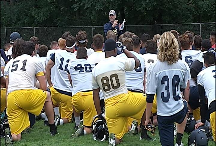 The Blugolds return to practice at Simpson Field