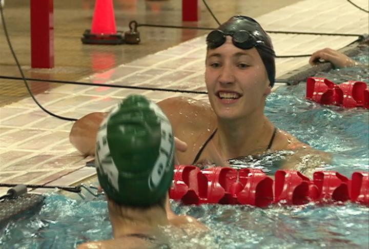 Menomonie's Carissa Henderson wins the 50 freestyle in 25.93 seconds