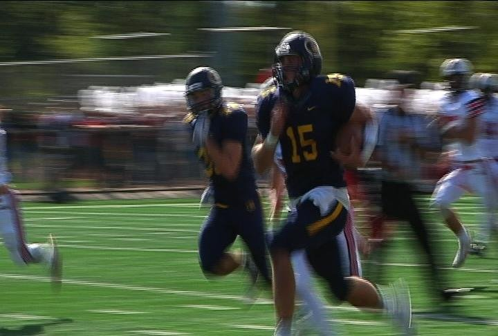 JT DenHartog races for a 73-yard TD, but the Blugolds falls to River Falls