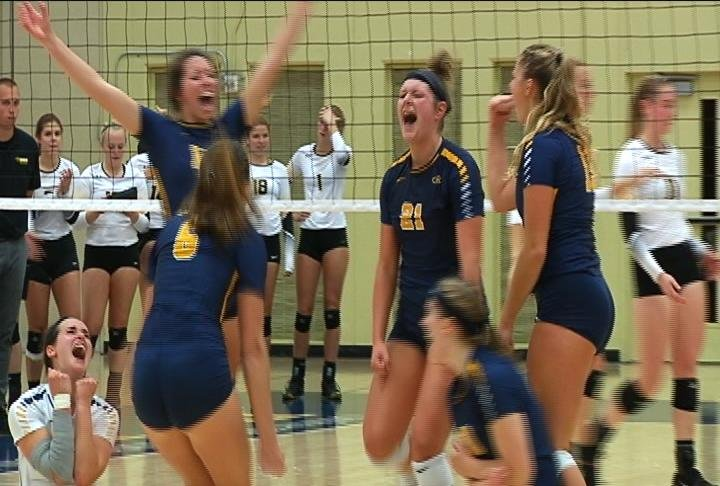 Krista Meyer delivers on match point, as the Blugolds sweep Oshkosh