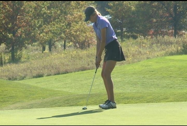 Rebekah Gerry of ECM lines up a putt en route to a first round 88