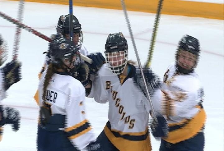 Courtney Wittig scores in the 1st, as the Blugolds top Hamline