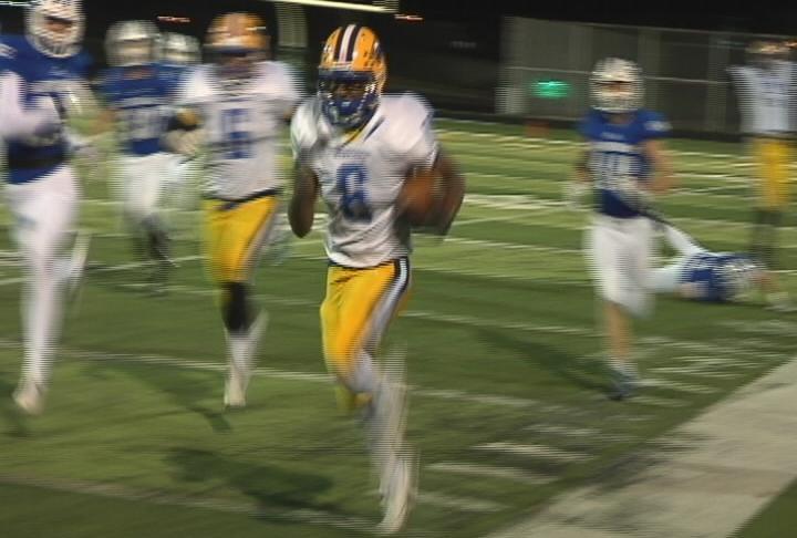 Rice Lake's Kenny Bednarek sprints for a 66 yard TD
