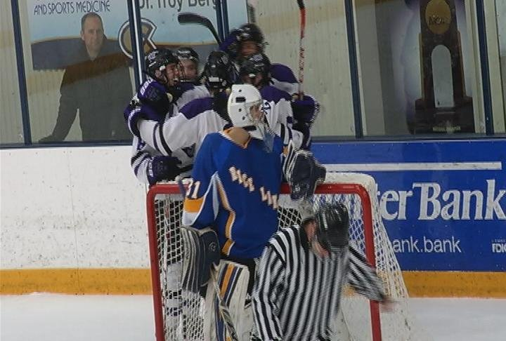 Ben Zacho tallies a hat trick to lead the Old Abes past Rice Lake