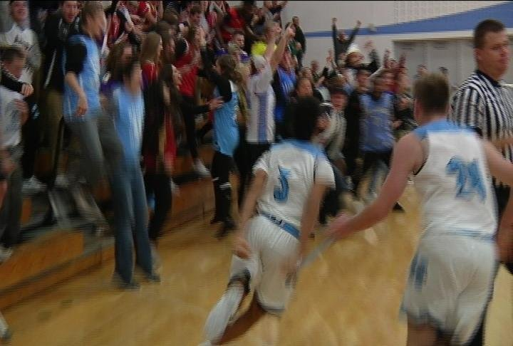 Dalton Banks hits the gamewinner at the buzzer, as the Huskies top La Crosse Central