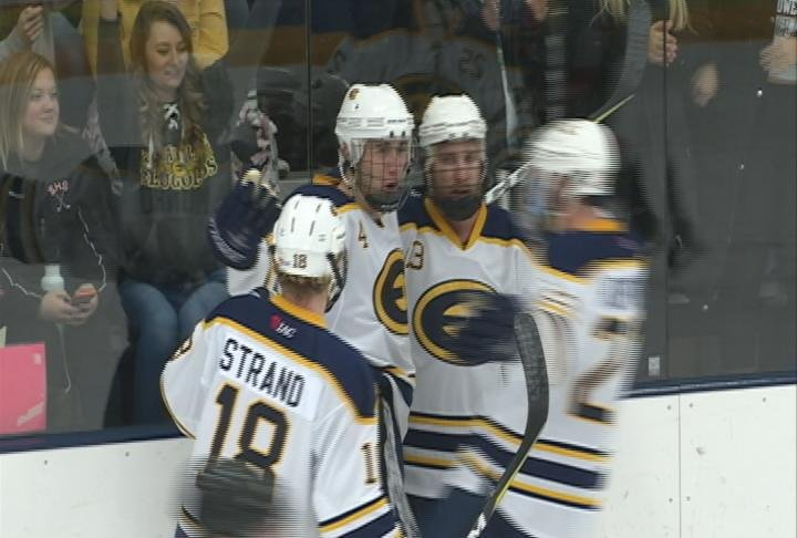 Scott Munro scores on a blast from the point, as the Blugolds top River Falls