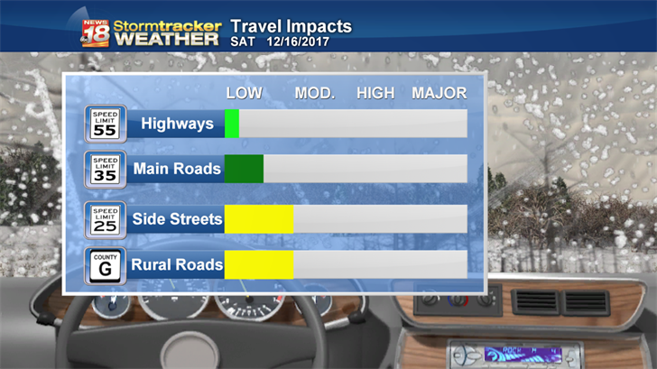 Most impacts will be overnight when there are less cars on the road, but there will still be slippery spots on roads through much of Saturday