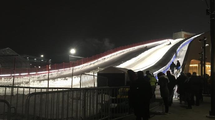 Tubing on Ariens Hill at night (WBAY photo)