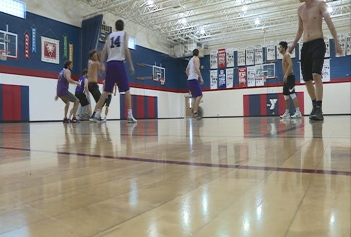 Old Abe alumni play in pickup games in Schaaf Gym