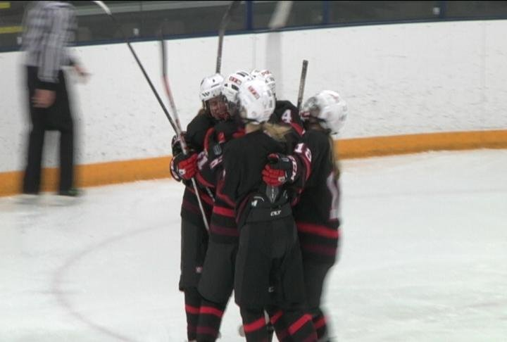 Chippewa Falls/Menomonie celebrates a Makayla Hendrickson goal