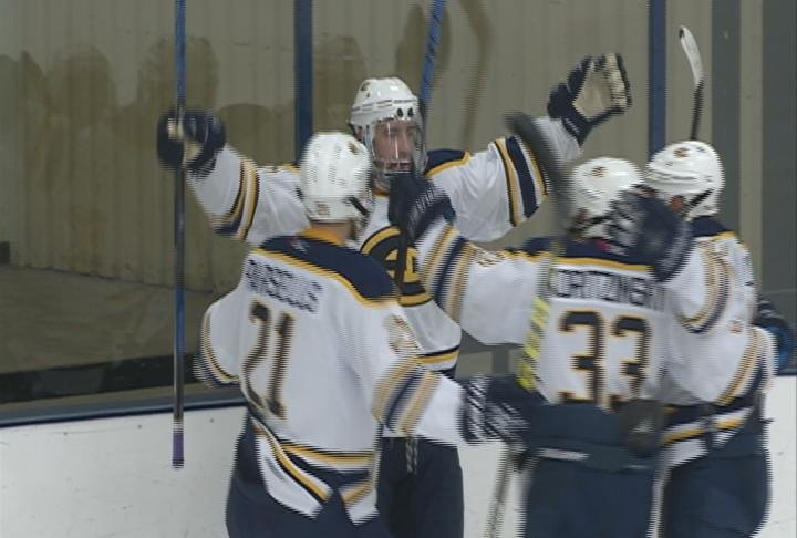 Freshman Jack Murphy scores his first career goal in the Blugolds' loss