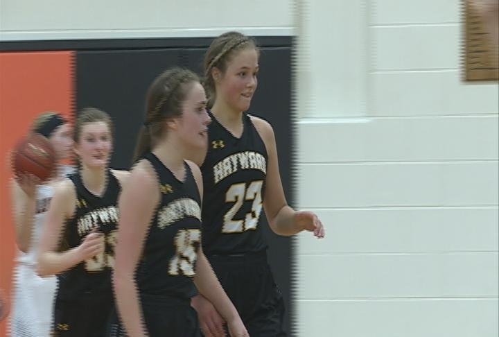 Madelyn Neff (#23) and Trinity Myer (#15) leads Hayward past Bloomer