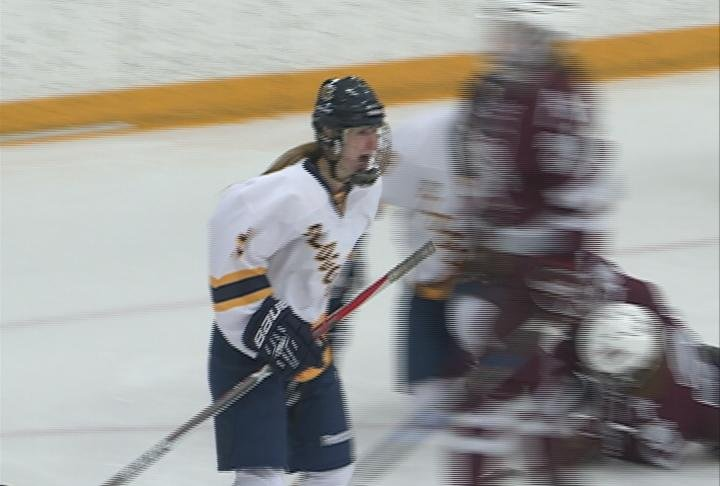 Abby Roeser scores the Blugolds' only goal in a 3-1 loss