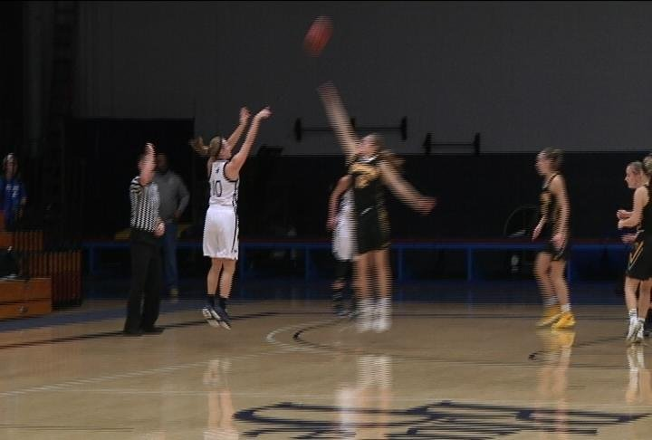 Haley Seifert sinks a 3 for UW-Stout