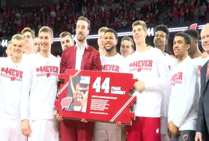 The Badgers honor Frank Kaminsky with a halftime ceremony