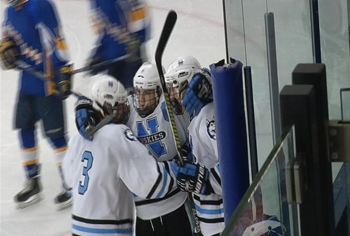 Sam Stange scores a short handed goal as North tops Rice Lake