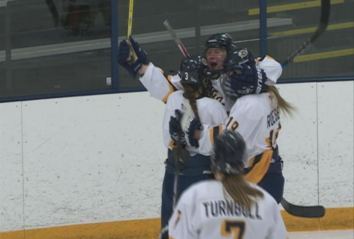 Sami Meister celebrates a 2nd period goal as the Blugolds shutout River Falls