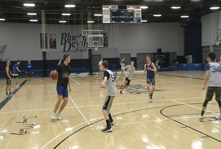 McDonell Central practices at UW-Stout, Tuesday