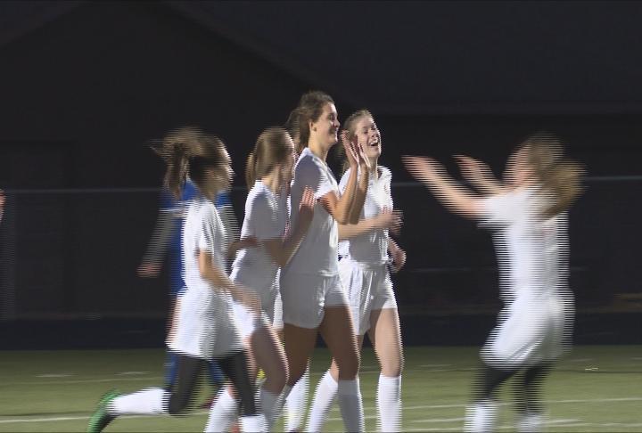 Chippewa Falls celebrates a goal by Andrea Cihasky