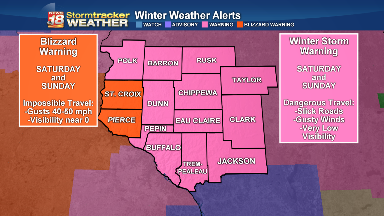 BLIZZARD WARNINGS are in effect. First in Western Wisconsin since Dec. 8-9 2009