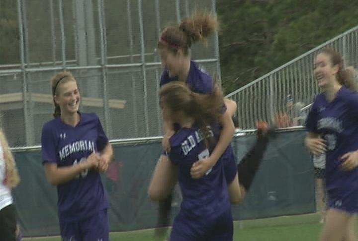 Lauren Carmody celebrates a late goal, as the Old Abes top Kimberly