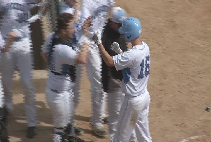Jack Kron scores for the Huskies as North tops Wausau West 5-2 in game 1
