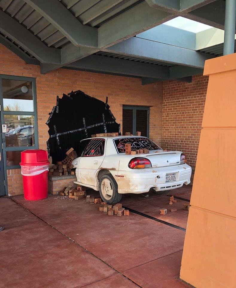 Wisconsin students stage vehicle crash in epic senior prank