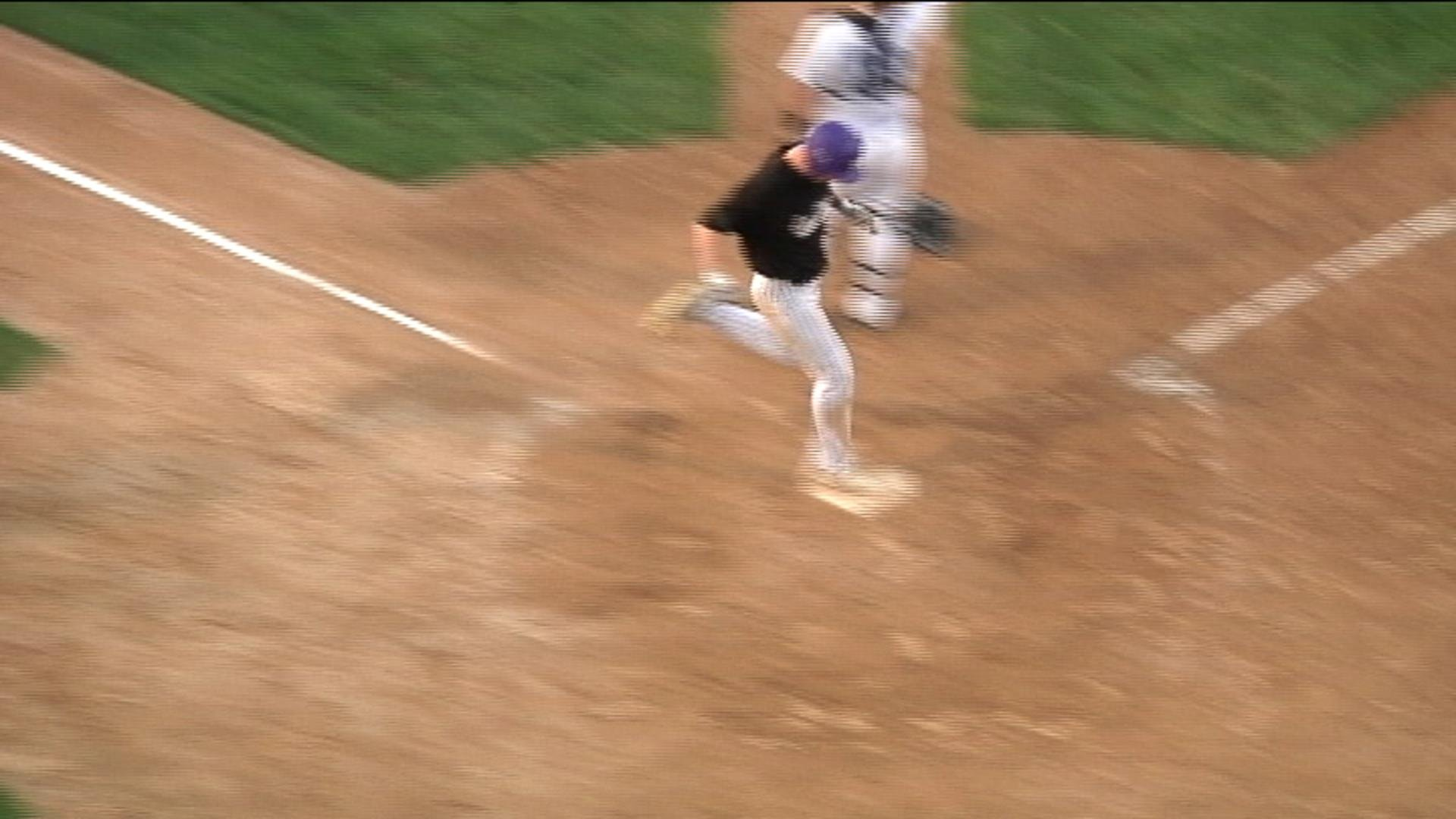 Vincent Trapani scores EC Memorial's 3rd run as the Old Abes blank EC North