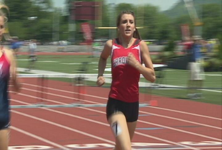 Madelyn Hedrington of Chippewa Falls sets a school record & personal best in the 300 hurdles