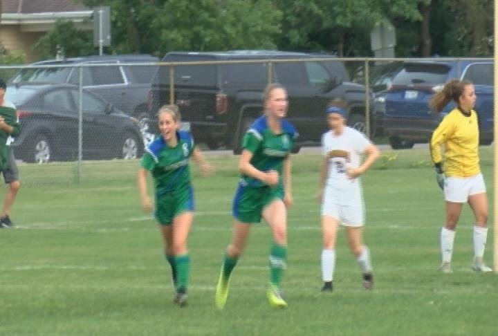 Esme Reinders (right), and Anna Daniels (left) tally a pair of goals to lead the Saints to State