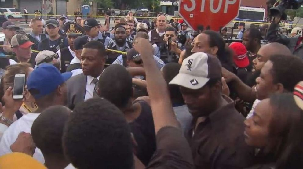 Protesters sparred with Chicago police officers following a deadly shooting on Saturday, July 13, 2018.