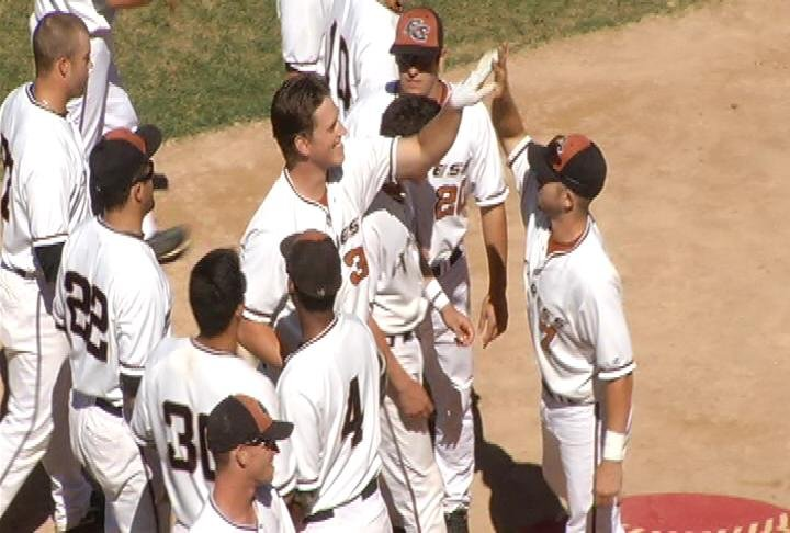 Eau Claire celebrates a Casey Gillaspie home run