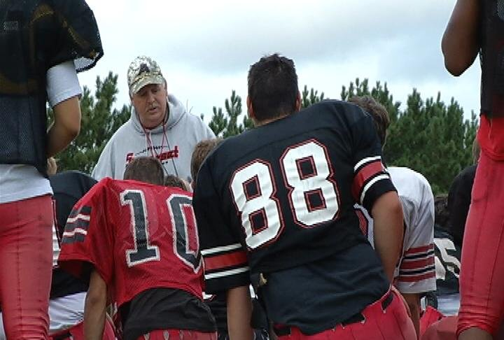 Somerset head coach Bruce Larson addresses the Spartans