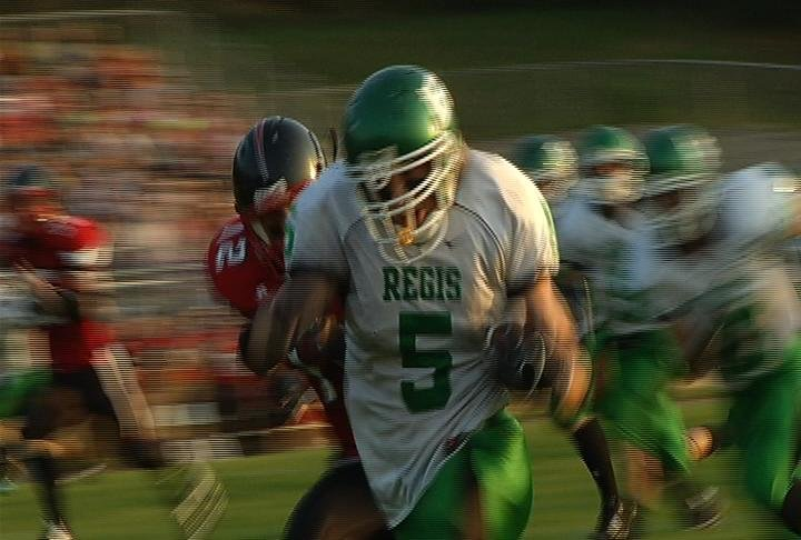 Michael Maenner of Regis breaks loose on a 46-yard TD run at Altoona