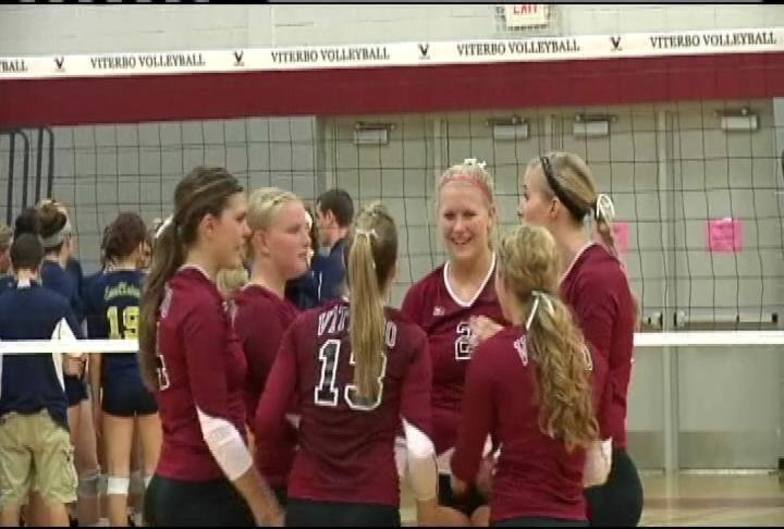 ECN alum Alicia Olson (#2) leads Viterbo to a 3-0 win over UWEC