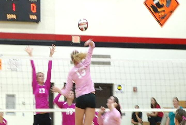 Altoona's Madi Whitehead goes up for the kill against Thorp