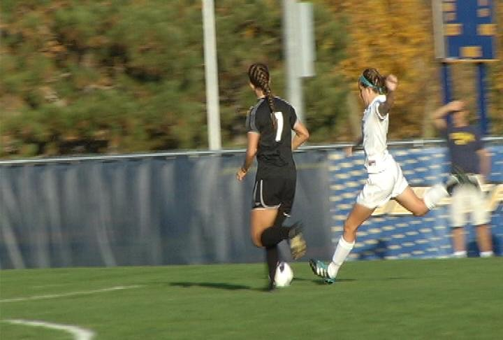 UWEC's Gina Williams scores her 14th goal of the season