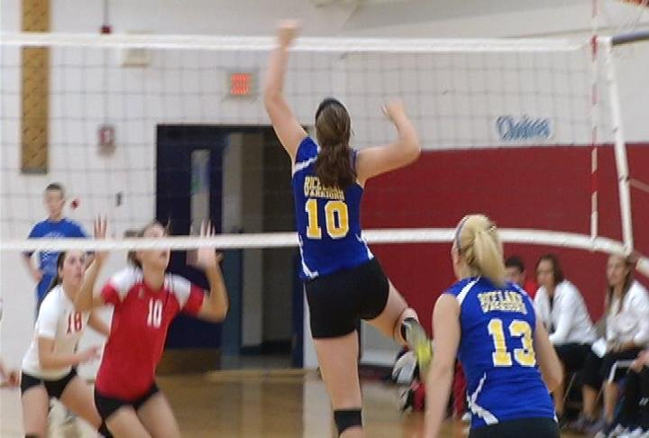 Rice Lake's Josie Buckley picks up a kill vs. Colfax