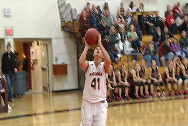 Bloomer's Cierra Rogge gets a bucket as the Blackhawks beat Somerset