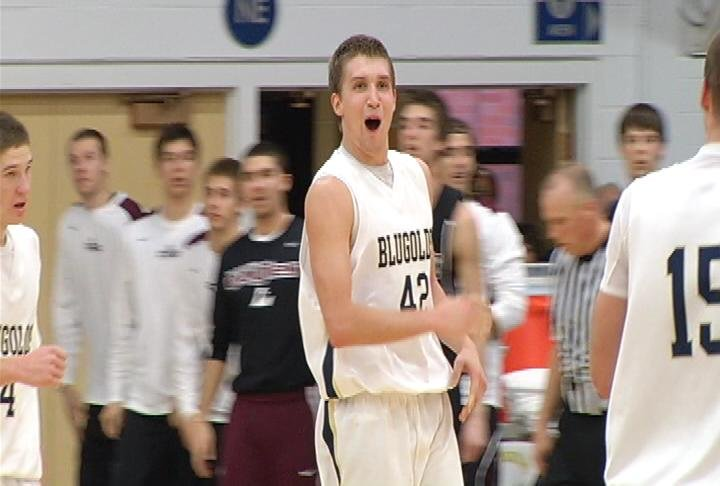 Andy Kleist celebrates his buzzer-beating tip-in