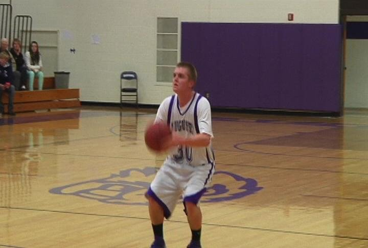 Augusta's Brady Grunewald lines up a 3 as the Beavers beat Owen-Withee