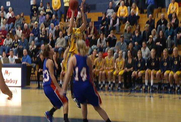 UWEC freshman Teenie Lichtfuss sinks a bucket to send the game to OT